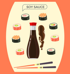Soy sauce bottle with sushi set and chopsticks vector