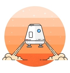 Space module landing on Mars vector
