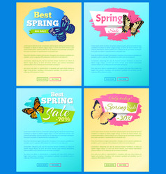 spring sale labels on posters add text butterflies vector image