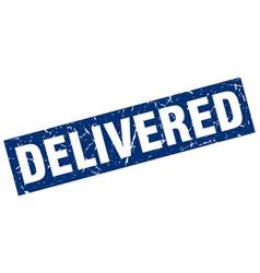 Square grunge blue delivered stamp vector
