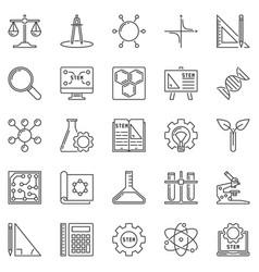 Stem outline icons set science concept vector