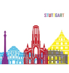 Stuttgart skyline pop vector image