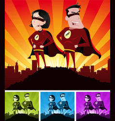 Super heroes male and female vector