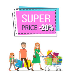 Super price promo sticker family shopping trolley vector