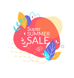 super summer sale banner with abstract shapes vector image