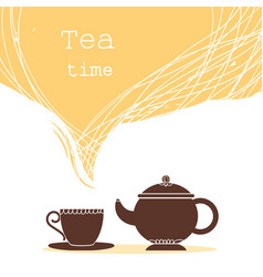 Time for teacup of tea and teapot for text vector