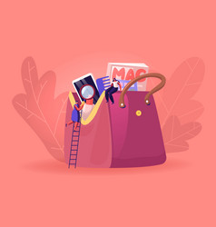 Tiny woman with magnifying glass climbing vector