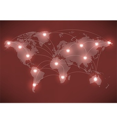 Valentines Day romantic heart with world map vector