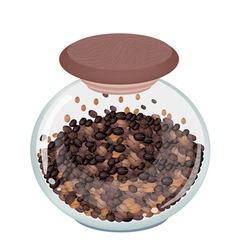 Various Kind of Coffee Beans in Glass Jar vector