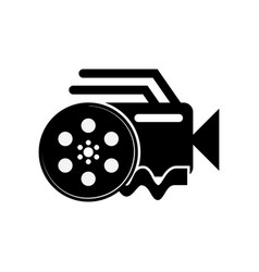 Video camera and film reel icon with a white vector