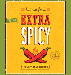 Vintage extra spicy poster vector