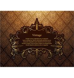 Vintage gold floral frame vector