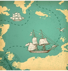 Vintage map with sailing vessels vector image