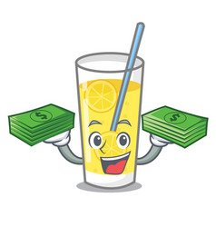 With money bag lemonade mascot cartoon style vector