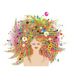 Woman face festive floral hairstyle vector