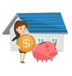 Woman puts money into piggy bank for buying house vector