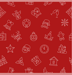 xmas themed linear symbols seamless pattern vector image