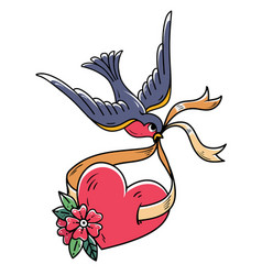 bluebird carries over red heart on ribbon tattoo vector image
