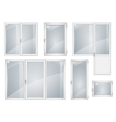 Set of white plastic windows vector
