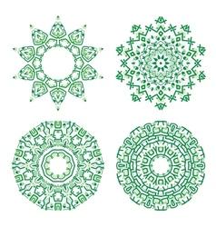 Ornamental ethnicity green pattern vector image