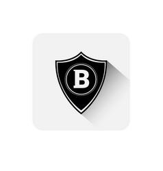shield with bitcoin sign icon digital web money vector image vector image