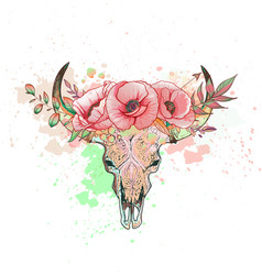 skull of a cow with horns poppy vector image vector image