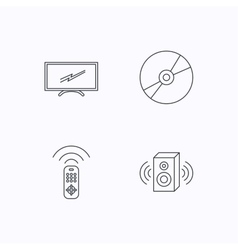 TV remote sound and DVD disc icons vector image