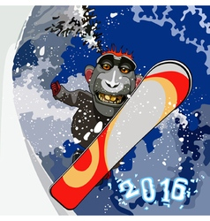 cartoon smiling monkey gorilla snowboarding vector image