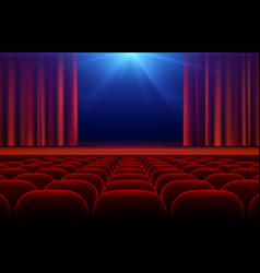 cinema or theater hall with stage red curtain and vector image