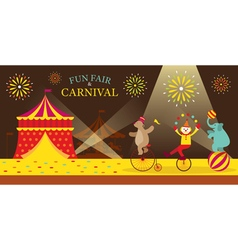 Circus Tent with Clown Show vector image vector image
