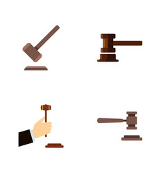 Flat icon hammer set of law government building vector