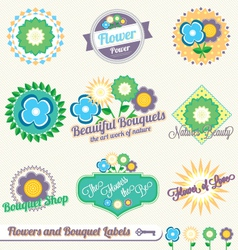 Flower and Bouquet Labels and Stickers vector image vector image