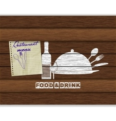 restaurant menu food and drink white paint on wood vector image