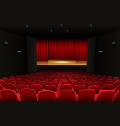 theater stage with red curtains and seats vector image vector image