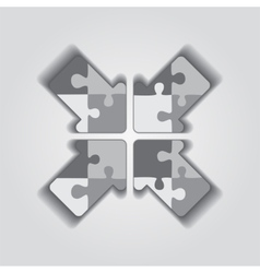 Arrow puzzle concept on gray background vector image