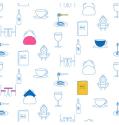 cafe service line icon seamless pattern vector image