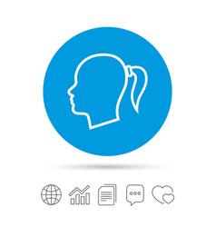 head sign icon female woman human head vector image vector image
