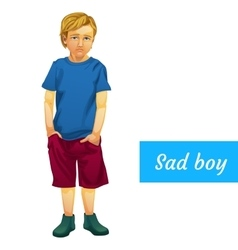 Sad boy in summer clothes isolated character vector image
