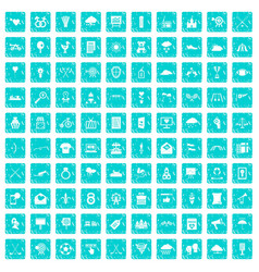 100 arrow icons set grunge blue vector image