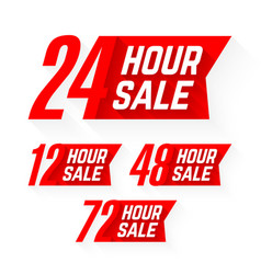 12 24 48 and 72 hour sale labels vector