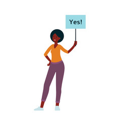 african woman stand holding placard on stick with vector image
