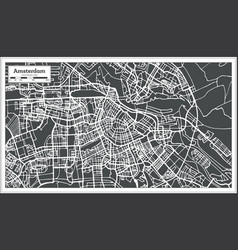 Amsterdam holland map in retro style vector