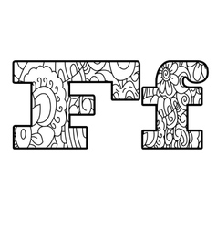 Anti coloring book alphabet the letter F vector