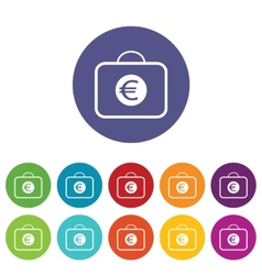 Bag with euro symbol icon set vector image