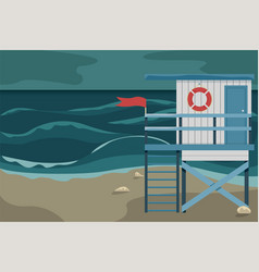 beach landscape with a lifeguard house storm vector image