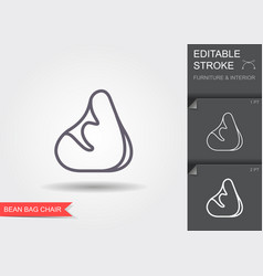 Bean bag chair line icon with editable stroke with vector