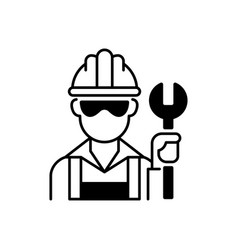 Blue collar worker black linear icon vector