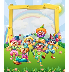 Border design with many clowns vector