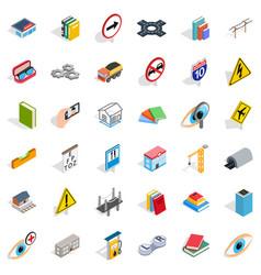 Bridge icons set isometric style vector