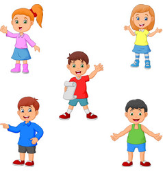 cartoon boys and girls collection set vector image